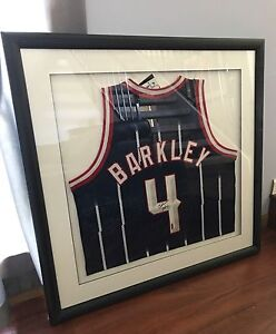 cheaper 89823 15212 Details about Charles Barkley Houston Rockets authentic autogrpahed custom  framed jersey