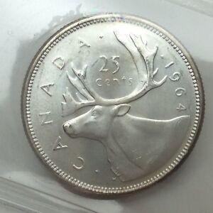 1964-Canada-25-Twenty-Five-Cents-Quarter-Canadian-Graded-ICCS-XNI-231-Coin-D070