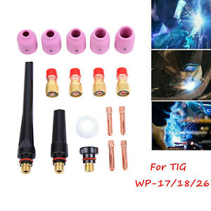 TIG Welding Torch Collets Body Stubby Gas Lens Cup Ceramic Cup for WP 17//18//26