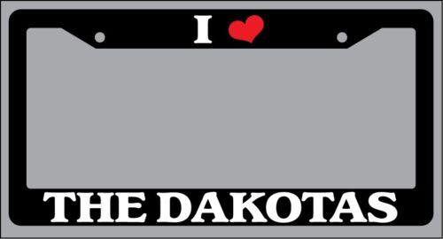 "Black License Plate Frame /""I Heart The Dakotas/"" Auto Accessory Novelty"