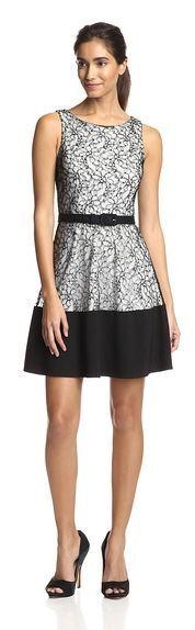 NWT  Eva Franco 'Evette' Dress (6) Weiß Lace w  schwarz Trim - Anthropologie