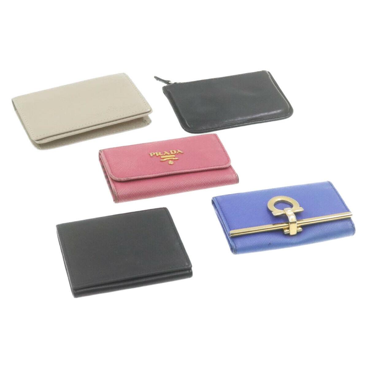 PRADA Salvatore Ferragamo Dunhill Leather Keycase Coin case 5set Auth cr815
