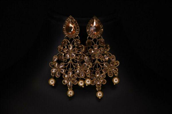 Begeistert Indisch Goldton Jhumka Ohrringe Set Bollywood Bridal Damen Schmuck QualitäTswaren