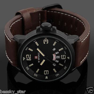 Hommes De Luxe Army Date Sport Cuir Montre Bracelet Étanche Quartz Analogique