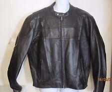 LEATHER KING Men's Black Leather Motorcycle Biker Jacket, Sz XL zip out liner hu