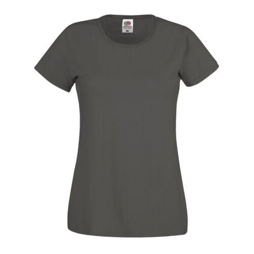 Femme t-shirt à encolure ras-du-Cou Tee Fruits of the Loom Coton Uni à Manches Courtes Top