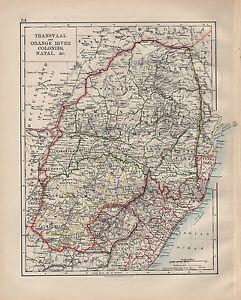 1900 VICTORIAN MAP AFRICA TRANSVAAL ORANGE RIVER COLONIES NATAL