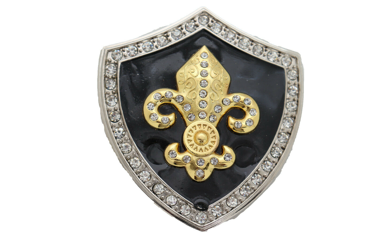 Mens Womens Belt Buckle Silver Metal Gold Fleur De Lys Lily French Sexy