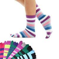 Toe Socks 6 Pair Soft Striped Ladies Women Girls Fun Mixed Style Socks Size 9-11