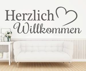 X4458-Wandtattoo-Spruch-Herzlich-Willkommen-Sticker-Wandaufkleber-Aufkleber