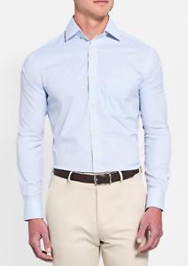 Peter Millar Performance Dress Stripe Sport Shirt Light bluee 34 35 16.5 NWT