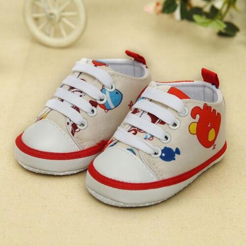 Bébé nouveau-né chaussures bébé enfants garçon fille semelle souple cartoon canvas sneaker S03