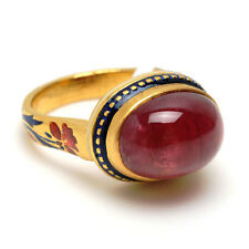 22k Solid Yellow Gold Natural Gemstone Solitaire Indian Ethnic Ring Jewelry