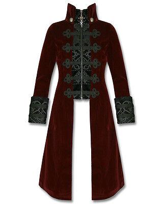 Punk Rave Womens Jacket Coat Baratheon Burgundy Red Velvet Gothic Steampunk