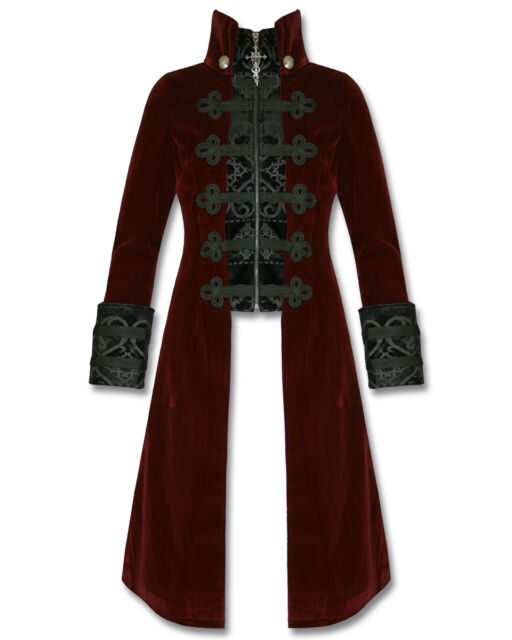 Punk Rave Womens Jacket Coat Baratheon Burgundy Red Velvet Gothic Steampunk