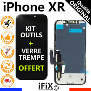 ECRAN LCD QUALITÉ ORIGINAL POUR IPHONE XR NOIR + VITRE TACTILE COMPLET + OUTILS