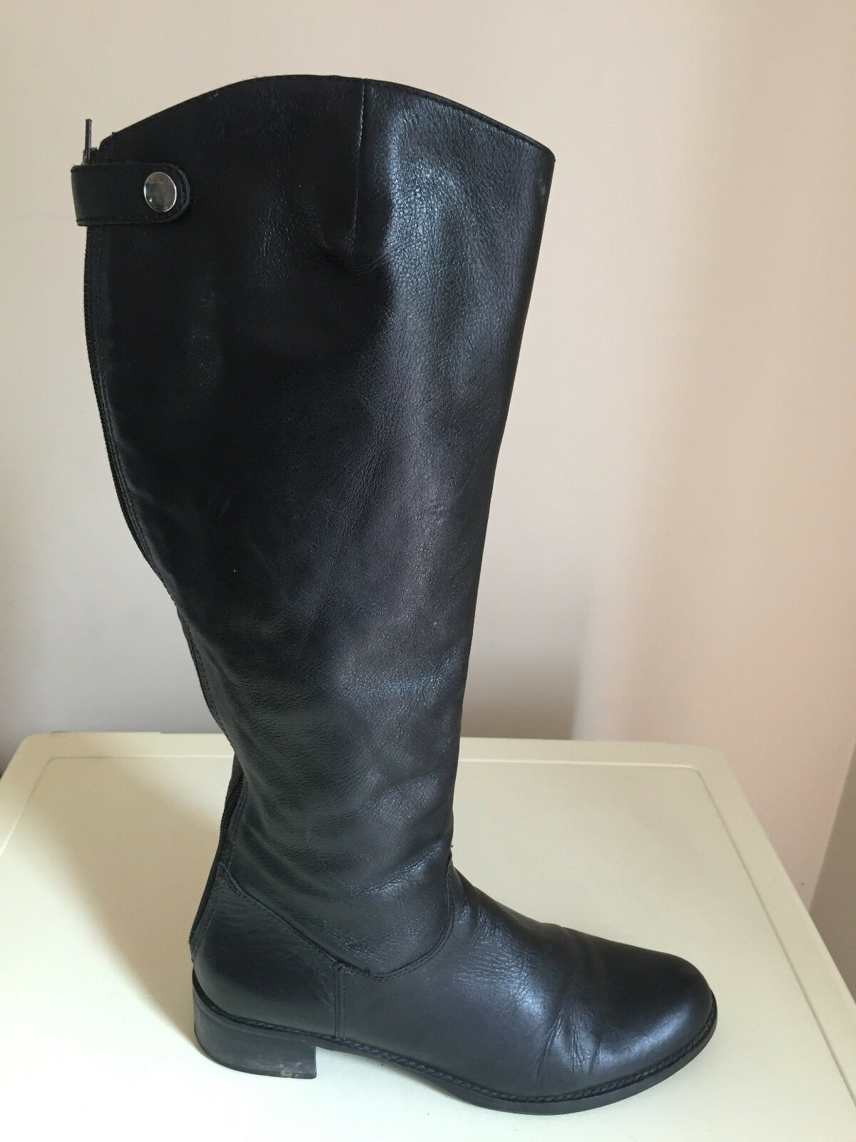 WOMEN DUNE LONDON BLACK LEATHER KNEE HIGH BOOTS SIZE 39