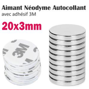 Lot-Aimant-Neodyme-Autocollant-Adhesif-3M-Neodymium-Adhesive-Magnet-Pad-20x3mm