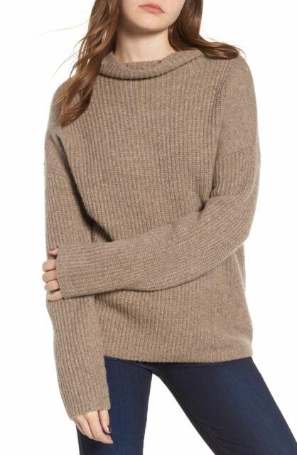 Chelsea28 Women's Sweater Brown Size Medium M Rib Knitted Turtleneck $79 #052