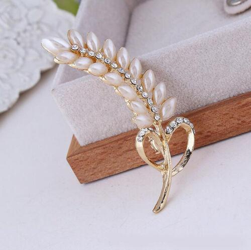 Fashion Wedding Bridal Pearl Rhinestone Crystal Bouquet Brooch Pin Jewelry Gold