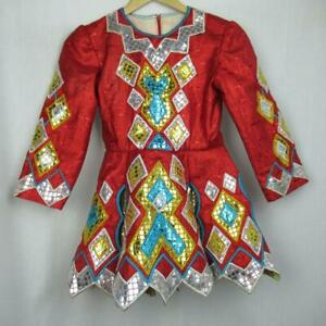Girls-Irish-Dancing-Dress-Red-Shiny-Embroidered-Tailor-Made-Ireland-Est-8-9-yrs