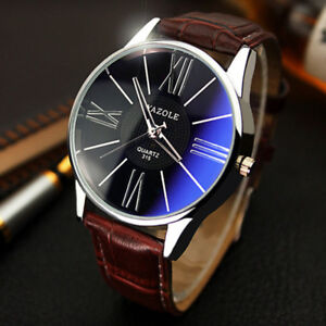 Fashion-Men-039-s-Leather-Military-Casual-Analog-Quartz-Wrist-Watch-Business-Watches