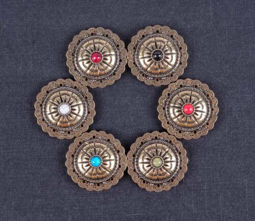 10PC 30 mm Bule Turquoise Starburst laiton antique festonné main Craft concho