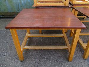 "School science desks tables beech legs mahogany tops 46""x40""x34""tal<wbr/>l - 5 left"
