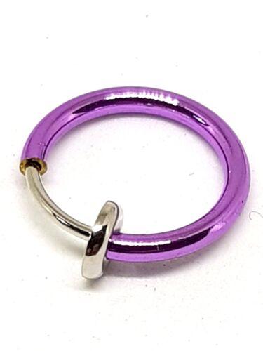 Retractable Clip On Nose Hoop Ring Septum Lip Fake Earring Piercing Purple Tone