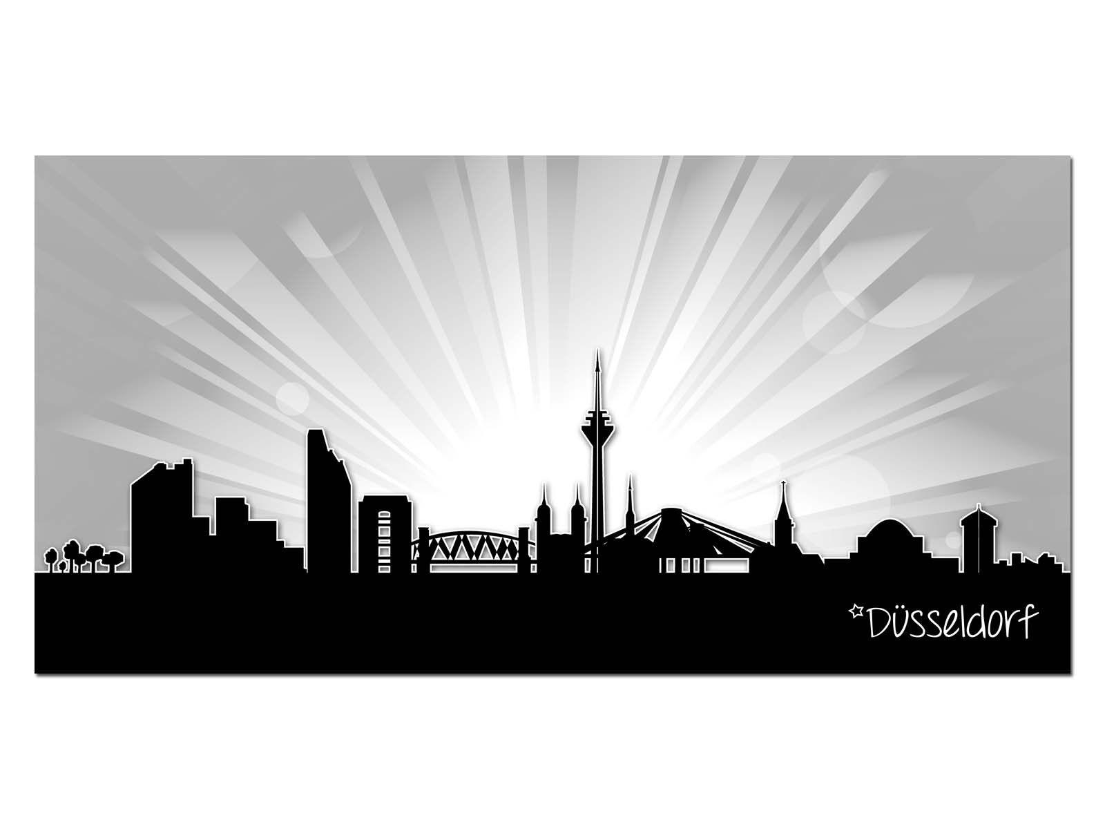 HD Glasbild EG4100500125 DÜSSELDORF SUNRISE GRAU 100 x 50 cm Wandbild STADT