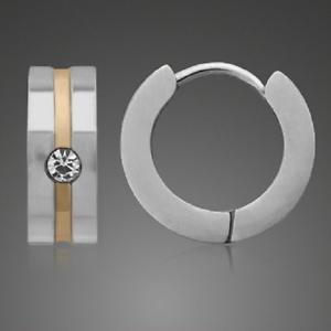 Das Bild wird geladen Titan-Titanium-Klappcreolen-Kreolen-Ohrringe -Bicolor-Gold-Zirkonia- 585083c1bb