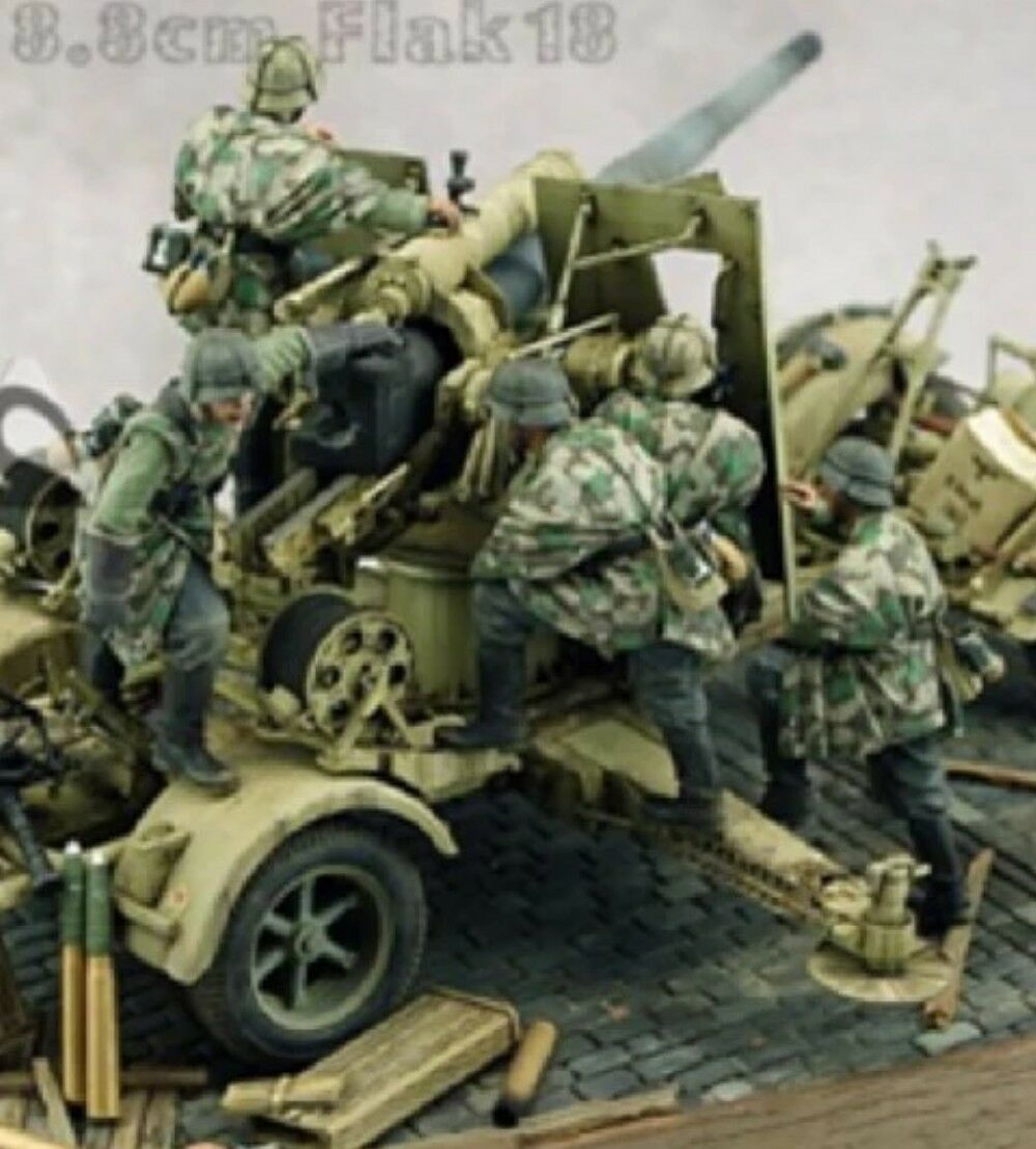 German WWII 88mm Self Propelled Gun Crew 1 35 Scale Resin figures Anti-Tank