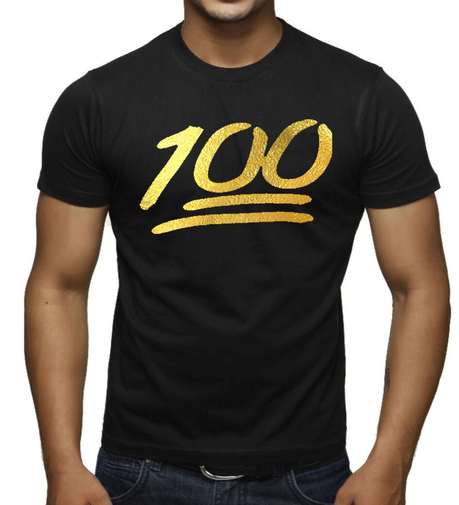 Men's Gold Foil Emoji 100 Percent Black T-Shirt Funny Tee Humor Workout Rave