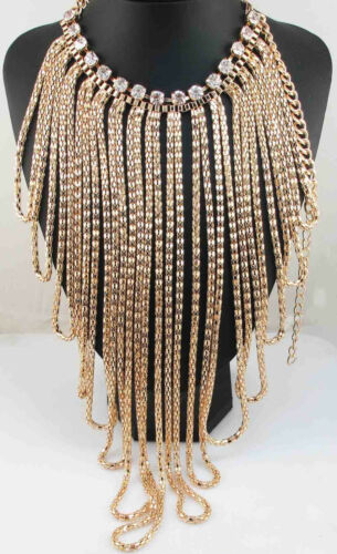 New Design lady Statement crystal chunky pendant chain charm necklace q1097