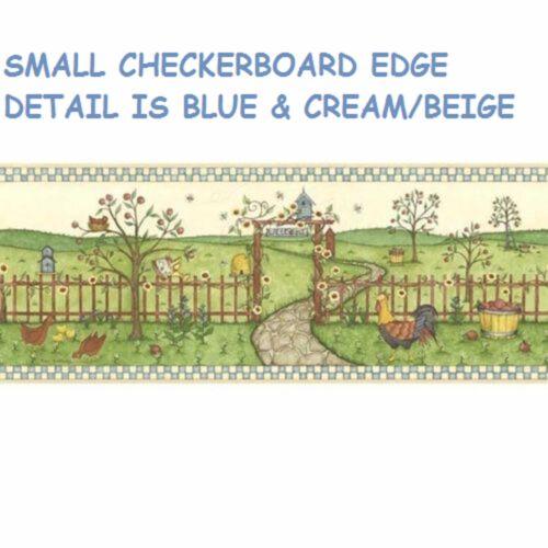 BREWSTER INTERNATIONAL COUNTRY GARDEN WELCOME WALLPAPER BORDER BLUE EDGE