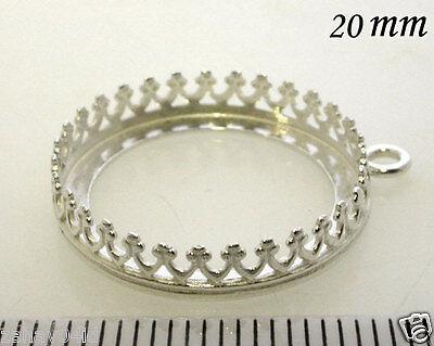 2pcs Bezel Cup 20mm Quality Cast Shiny Sterling Silver 925 Setting (8393SH)