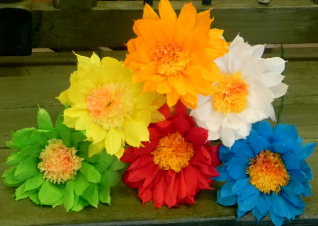 Mexican Crepe Paper Flowers Set Of 6 Multicolor Daisywe Make Special Orders