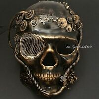 Steampunk Black Gold Skull Full Face Style Masquerade Party Mask