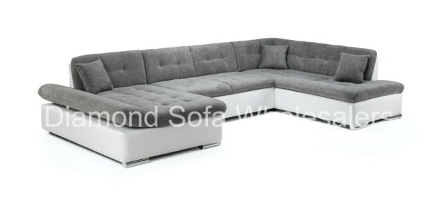 Stupendous Sofa Bergen Large U Shape Corner Sofa Bed Storage Black White Grey All Grey Machost Co Dining Chair Design Ideas Machostcouk