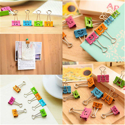 10Pcs 19mm Smile Metal Binder Clips Office School File Paper Organizer Hot SOL