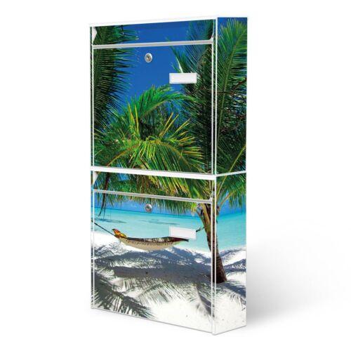 banjado Briefkastenanlage 2 fach Doppelbriefkasten mit Motiv Strand