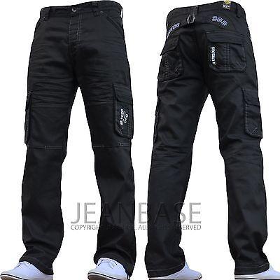 New Mens Designer Enzo Dark Cargo Combat Denim Jeans Pants All Waist & Leg Sizes
