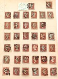 COLLECTION-37-QV-PENNY-RED-IMPERF-1840-1853-VARIOUS-CANCELS-PLATES