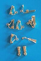 10 pairs of small, gold plated, clip on earrings, findings for jewellery making