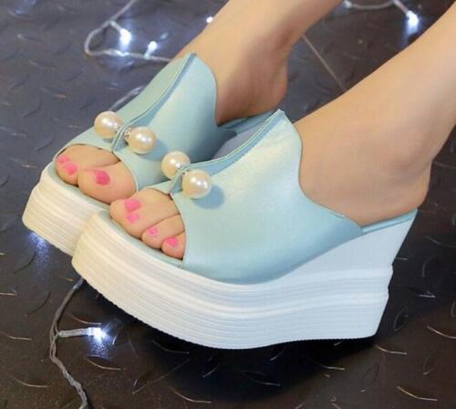 Women Fashion High Heel Sandals Pearls Slippers Wedge Open Toe Platform Shoes