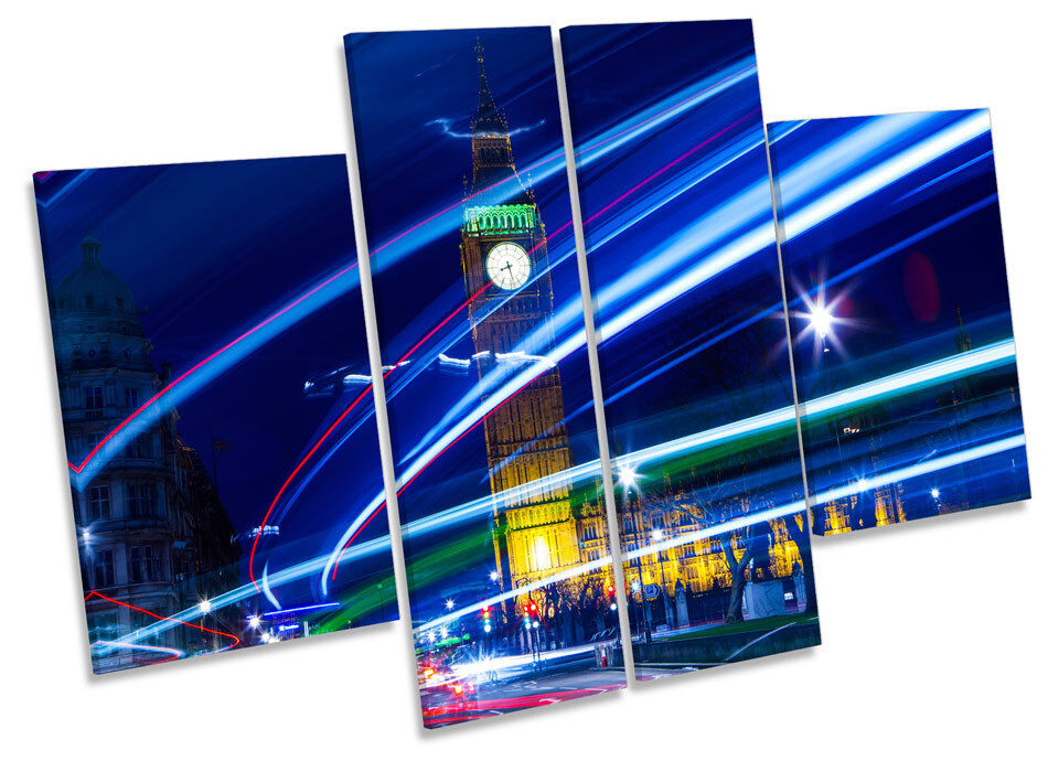 London Stadt Traffic Abstract Big Ben CANVAS Wand Kunst MULTI Panel Drucken Bild