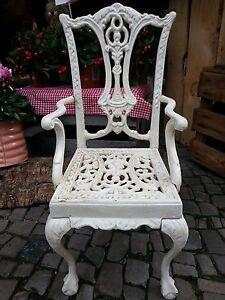 Details zu Antikcreme Stuhl Blumenbank Blumenhocker Deko Gusseisen rdCBeoWQx