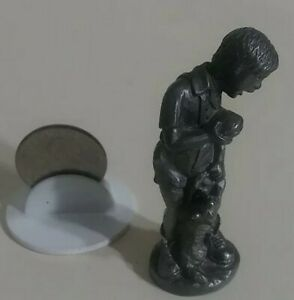 Vintage pewter figurine - BOY WITH CAT & burger in his hand