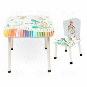 Surprising Details About New Style Childrens Wooden Table And Chair Set Kids Toddlers Childs Space Theme Interior Design Ideas Jittwwsoteloinfo