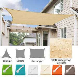 Waterproof-Sun-Shade-Sail-UV-Patio-Outdoor-Top-Canopy-Rectangle-Triangle-Cover